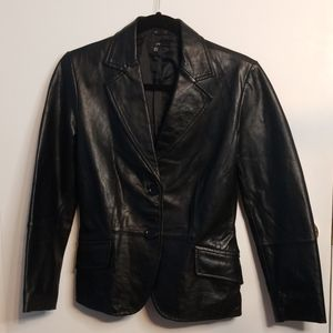 Zara 100% soft leather blazer/jacket GUC *see note